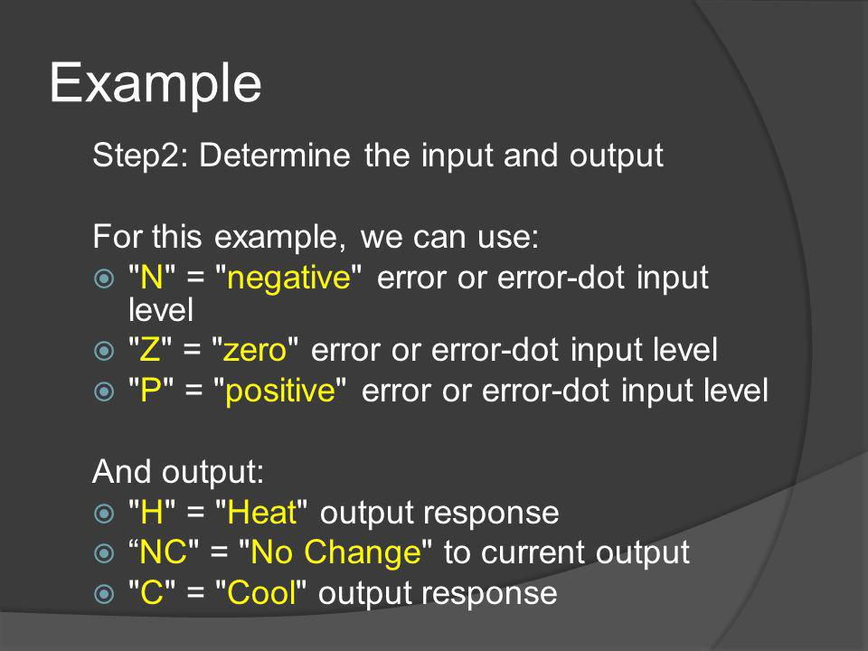 Example Step2: Determine the input and output