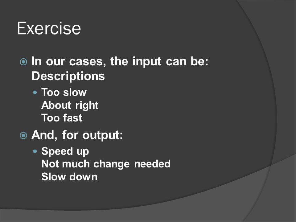 Exercise In our cases, the input can be: Descriptions And, for output: