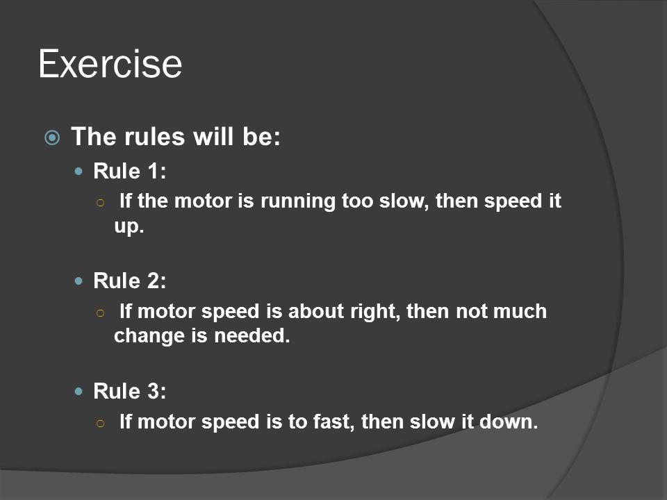 Exercise The rules will be: Rule 1: Rule 2: Rule 3: