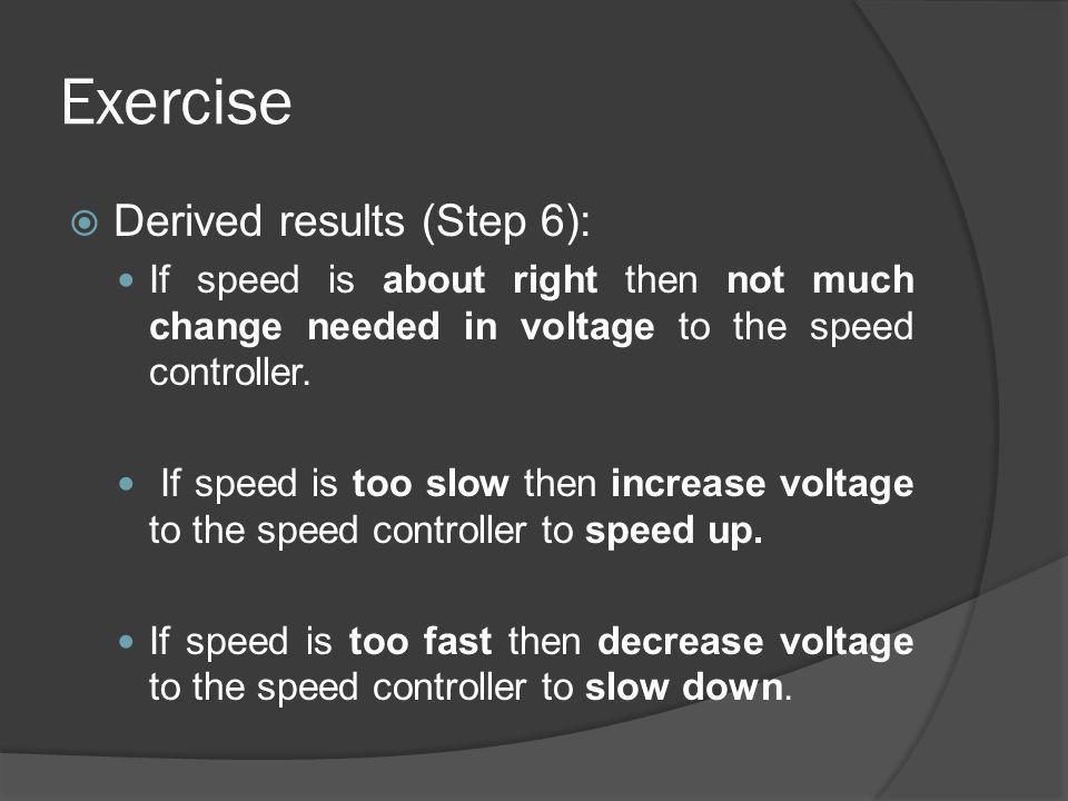 Exercise Derived results (Step 6):