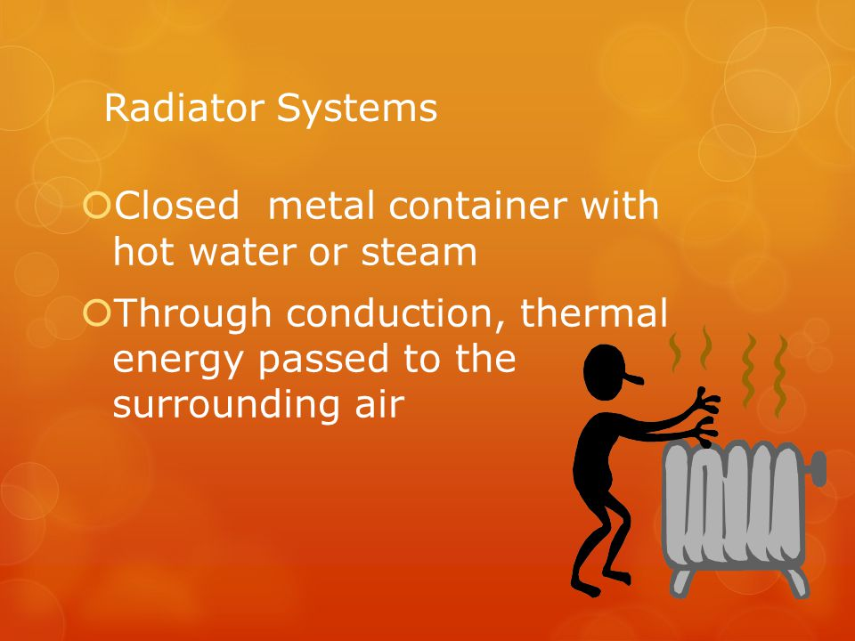 Radiator Systems Closed metal container with hot water or steam.