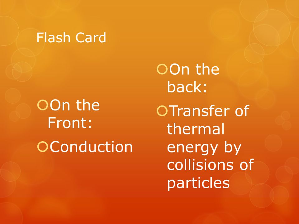 Transfer of thermal energy by collisions of particles