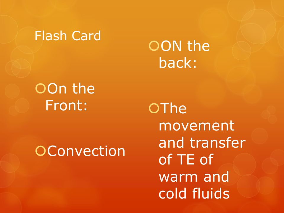 The movement and transfer of TE of warm and cold fluids