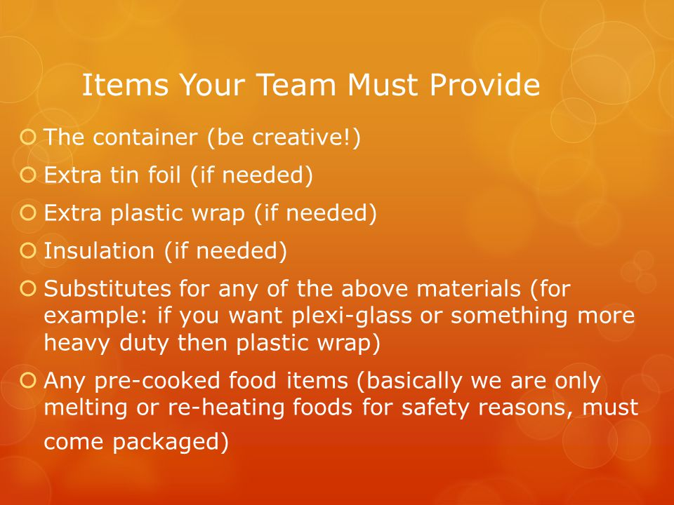 Items Your Team Must Provide