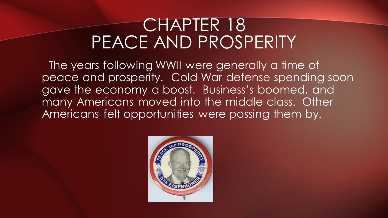 Chapter 18 Peace and prosperity