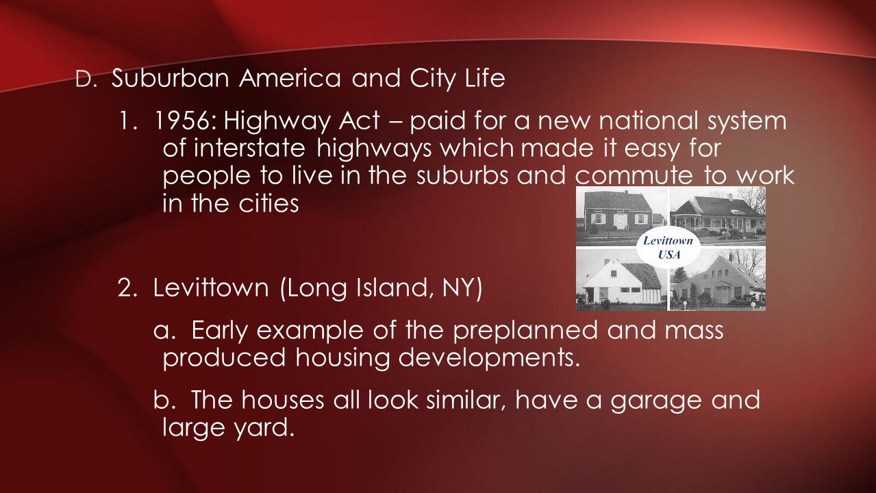 Suburban America and City Life