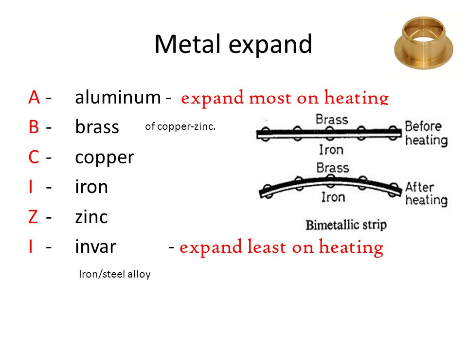 Metal expand A - aluminum - expand most on heating B - brass C - copper I - iron Z - zinc I - invar - expand least on heating