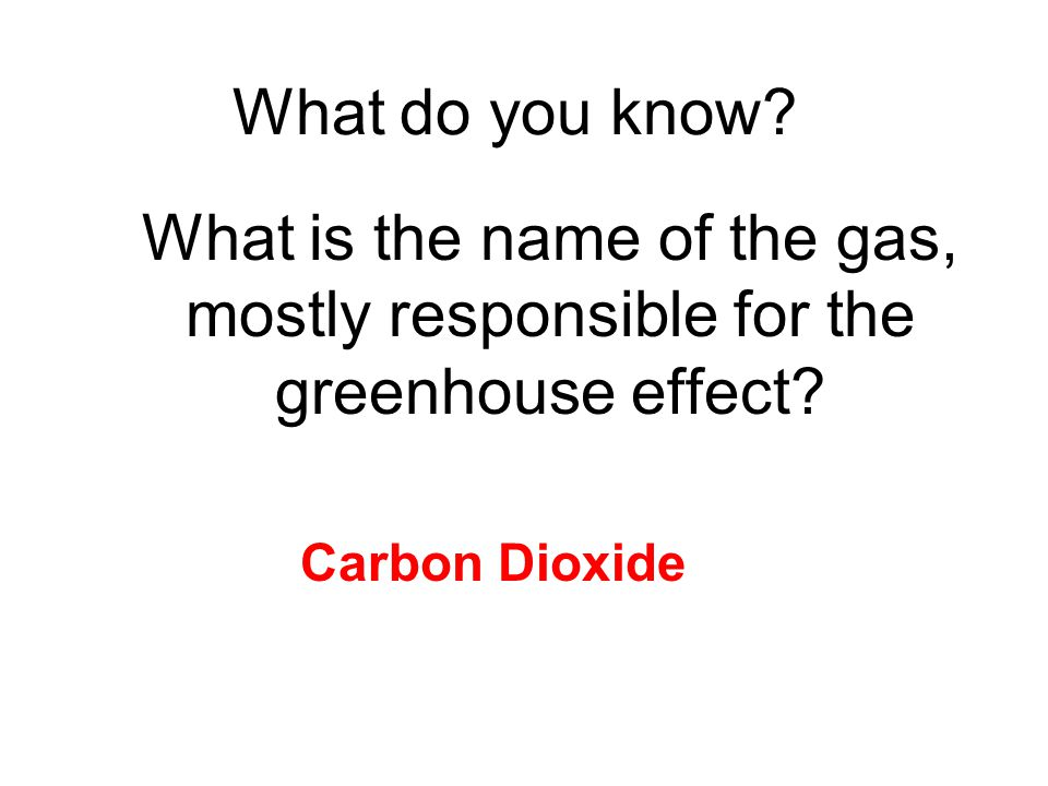 What do you know. What is the name of the gas, mostly responsible for the greenhouse effect.