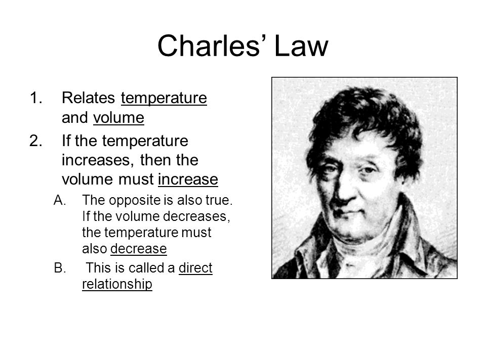 Charles' Law Relates temperature and volume