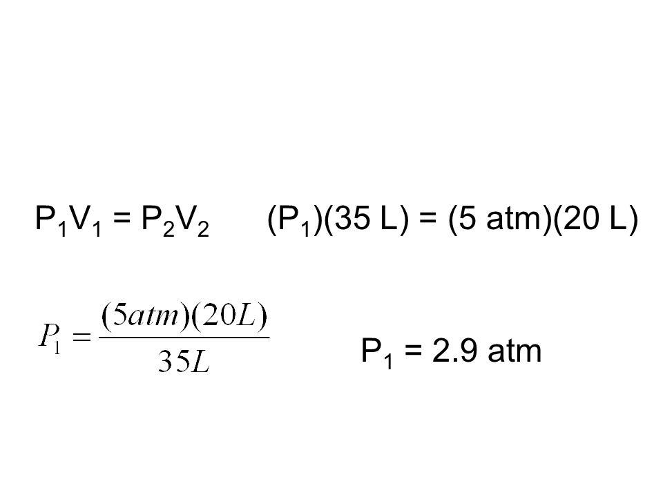 P1V1 = P2V2 (P1)(35 L) = (5 atm)(20 L) P1 = 2.9 atm