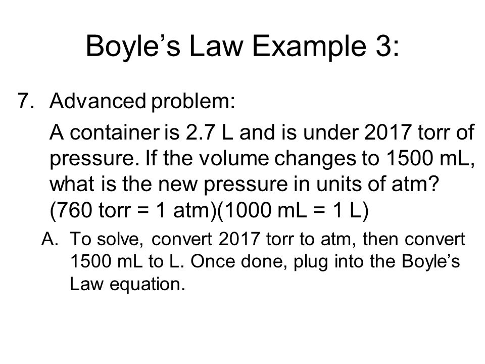 Boyle's Law Example 3: Advanced problem: