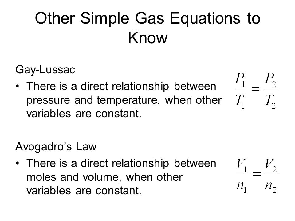 Other Simple Gas Equations to Know