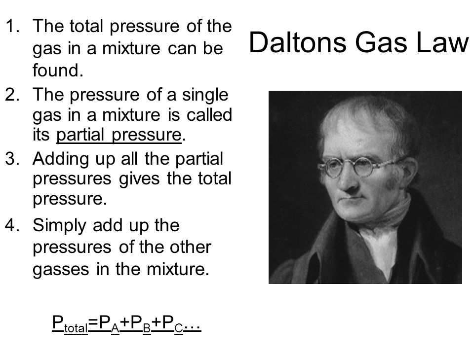 The total pressure of the gas in a mixture can be found.