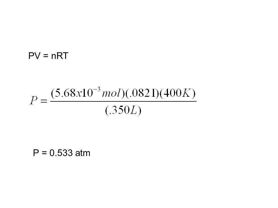 PV = nRT P = 0.533 atm