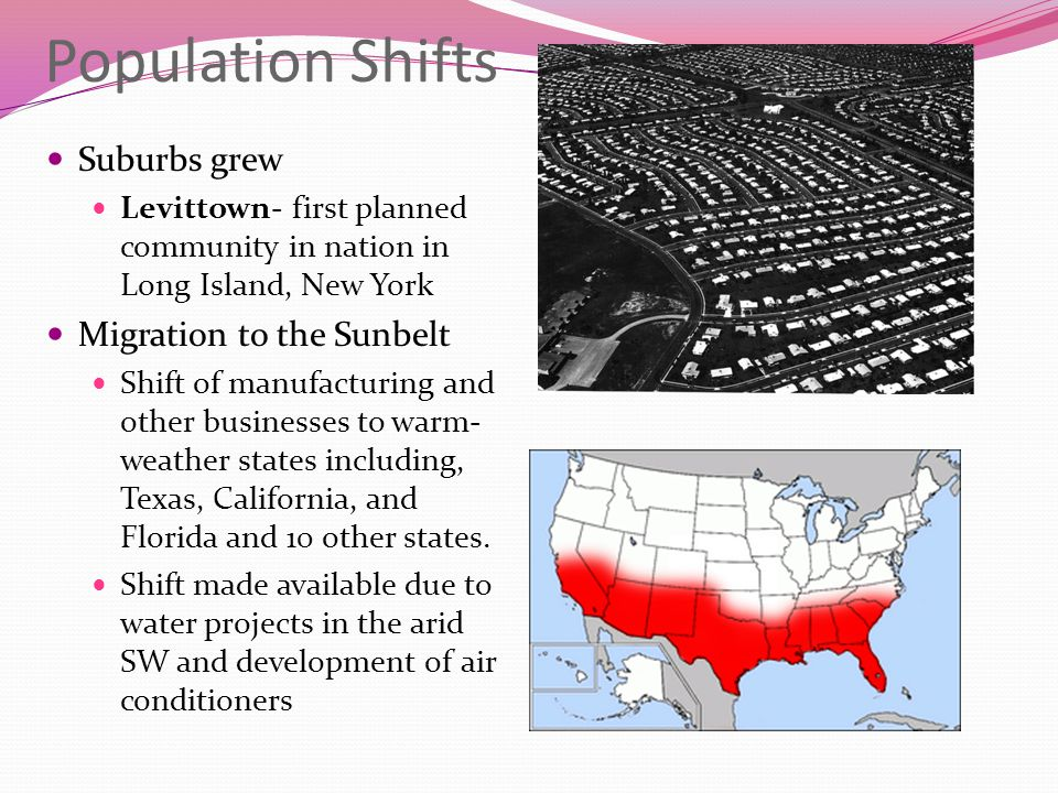 Population Shifts Suburbs grew Migration to the Sunbelt
