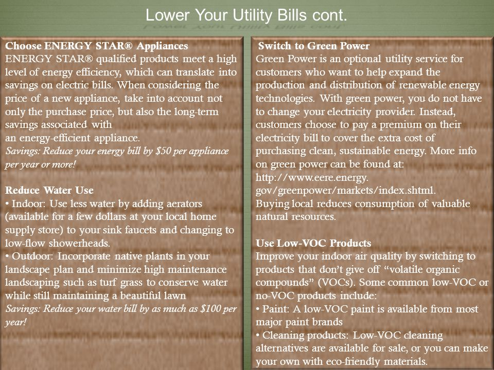 Lower Your Utility Bills cont.