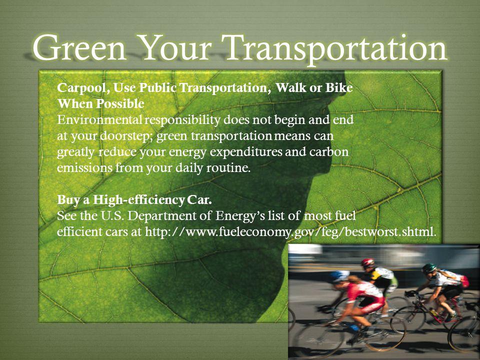 Green Your Transportation
