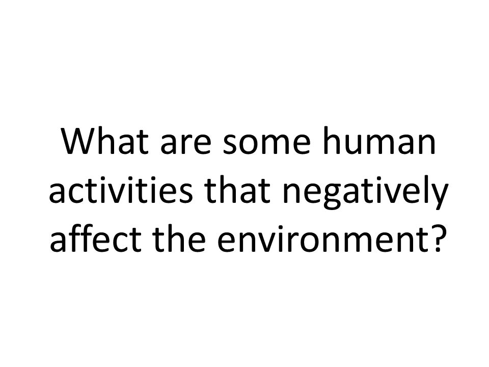 What are some human activities that negatively affect the environment