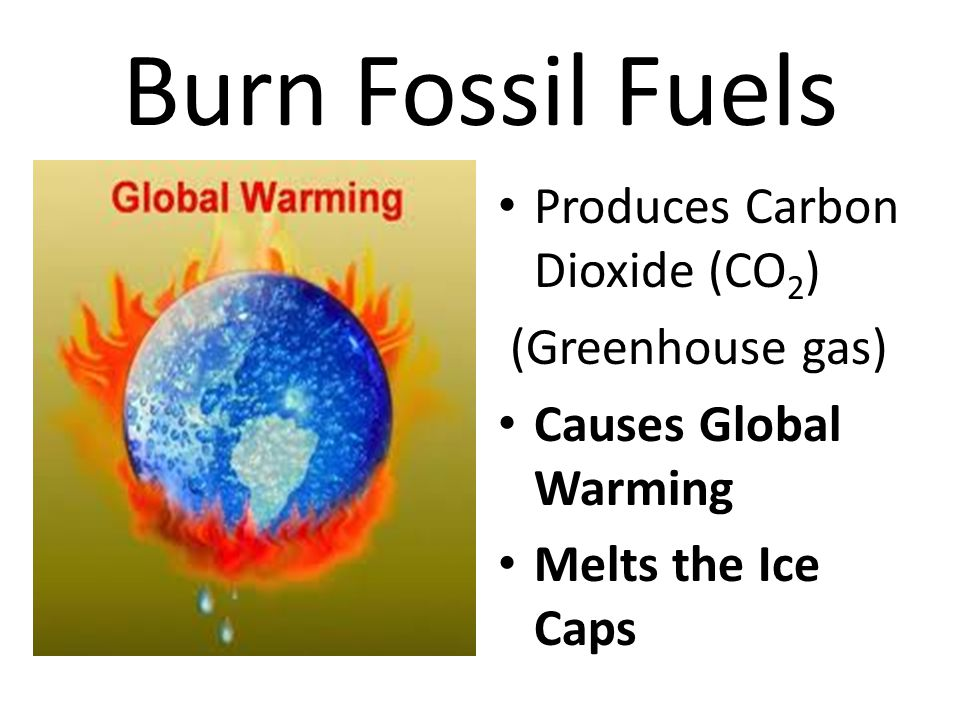 Burn Fossil Fuels Produces Carbon Dioxide (CO2) (Greenhouse gas)