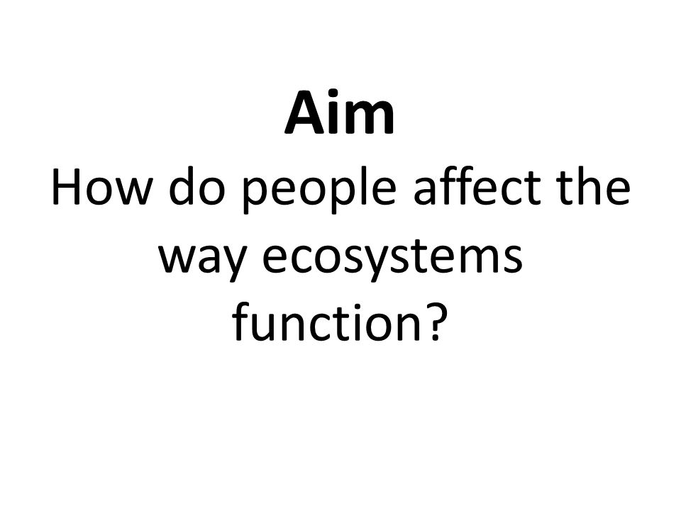 Aim How do people affect the way ecosystems function