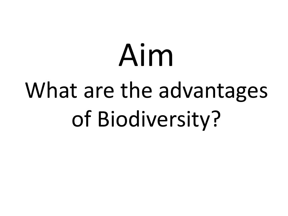 Aim What are the advantages of Biodiversity