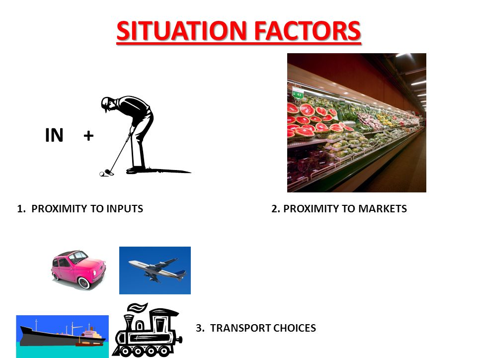 SITUATION FACTORS IN + 1. PROXIMITY TO INPUTS 2. PROXIMITY TO MARKETS