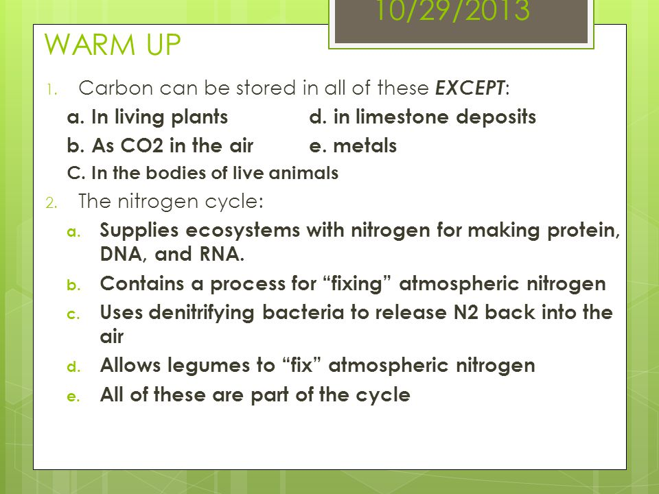 10/29/2013 WARM UP Carbon can be stored in all of these EXCEPT: