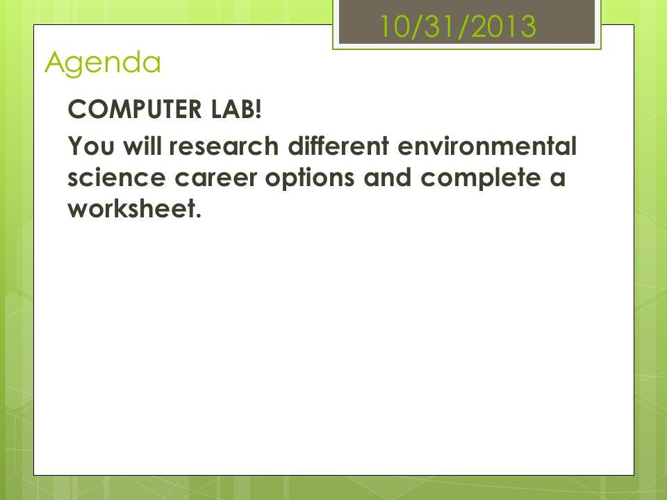 10/31/2013 Agenda COMPUTER LAB.