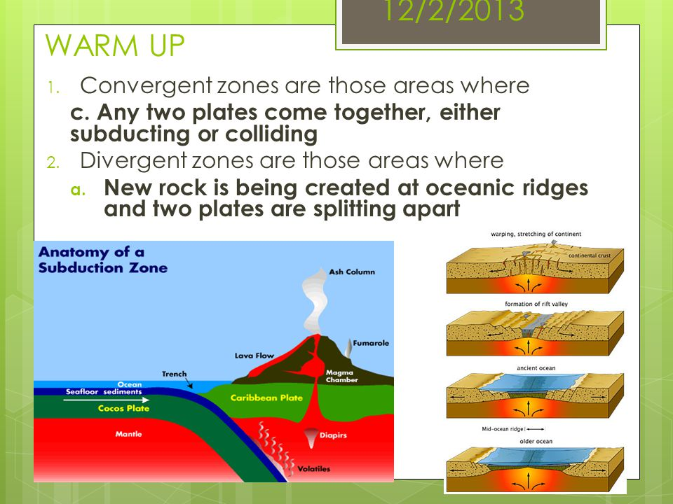 12/2/2013 WARM UP Convergent zones are those areas where