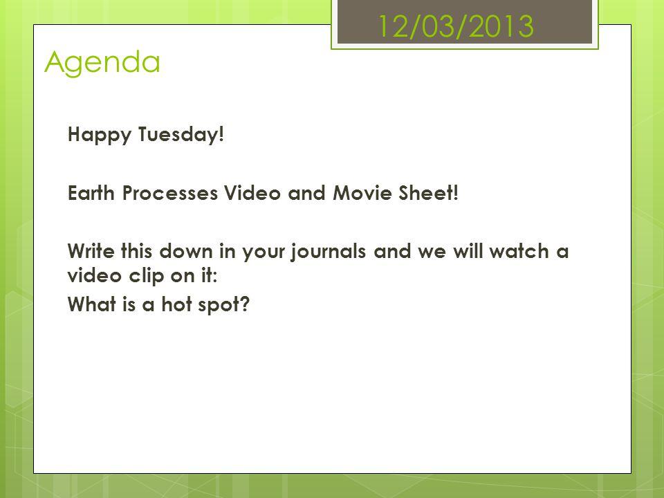 12/03/2013 Agenda