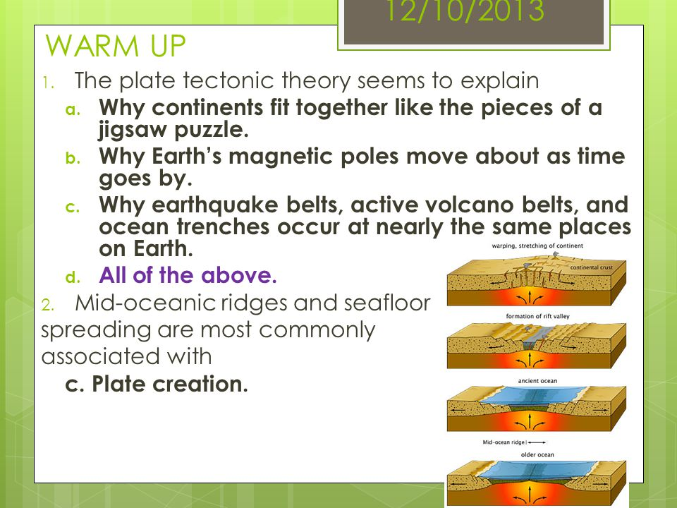 12/10/2013 WARM UP The plate tectonic theory seems to explain