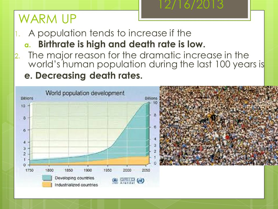 12/16/2013 WARM UP A population tends to increase if the