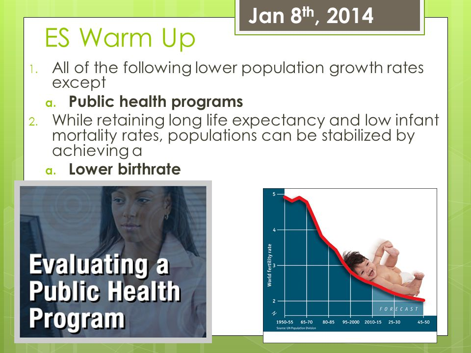 Jan 8th, 2014 ES Warm Up. All of the following lower population growth rates except. Public health programs.