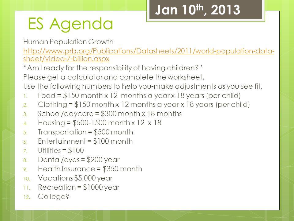 ES Agenda Jan 10th, 2013 Human Population Growth