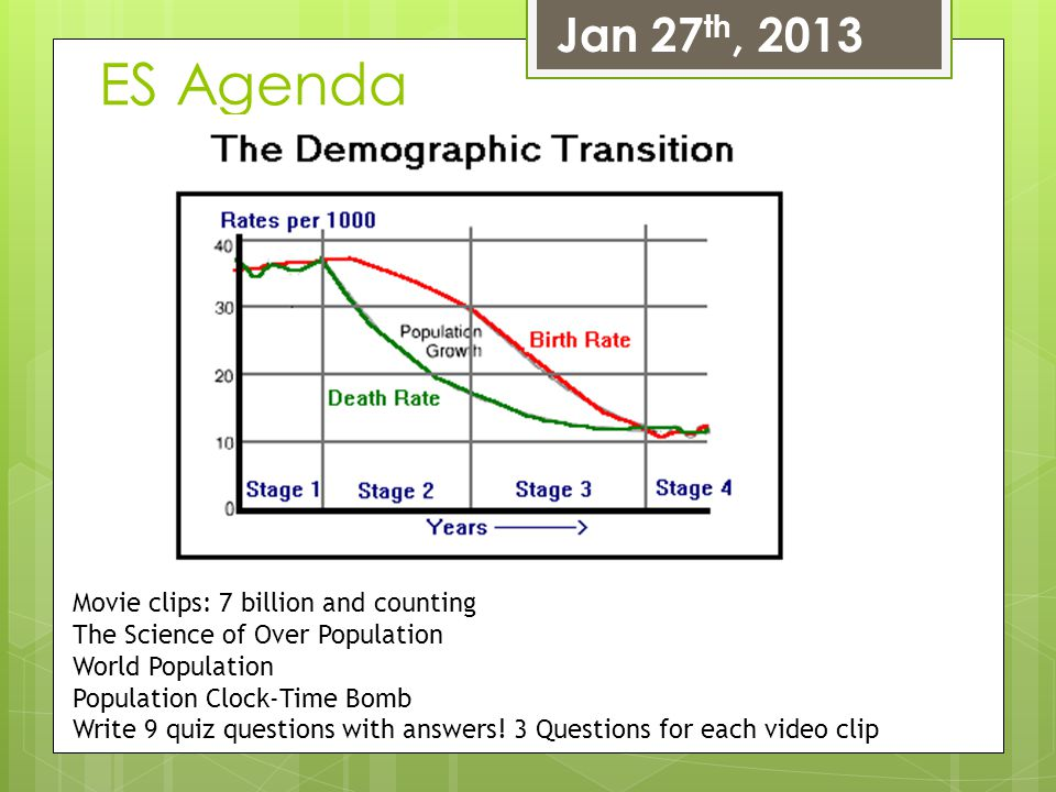 ES Agenda Jan 27th, 2013 Movie clips: 7 billion and counting