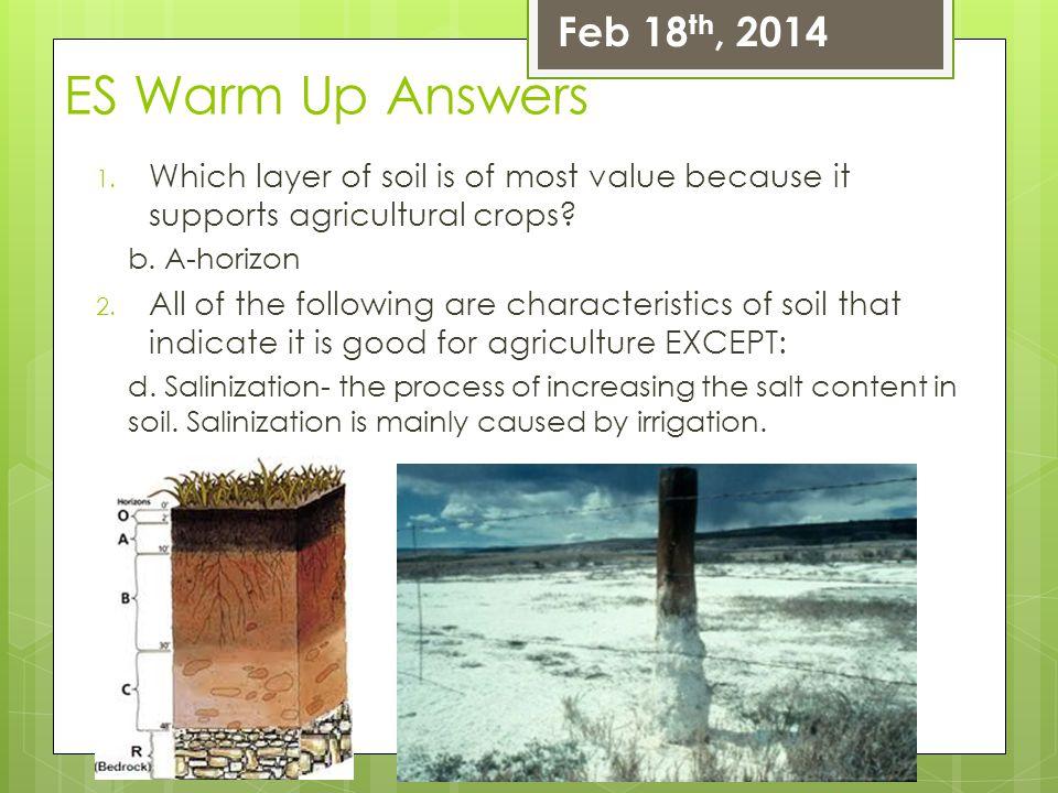 ES Warm Up Answers Feb 18th, 2014