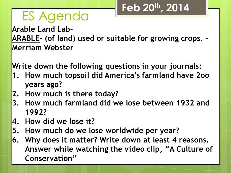 ES Agenda Feb 20th, 2014 Arable Land Lab-