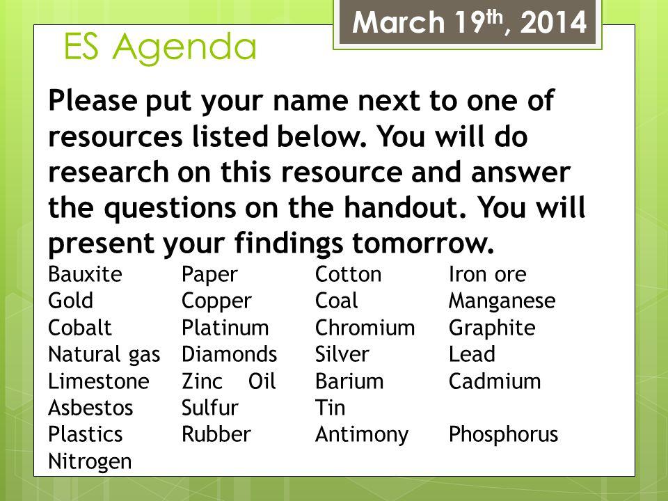 March 19th, 2014 ES Agenda.