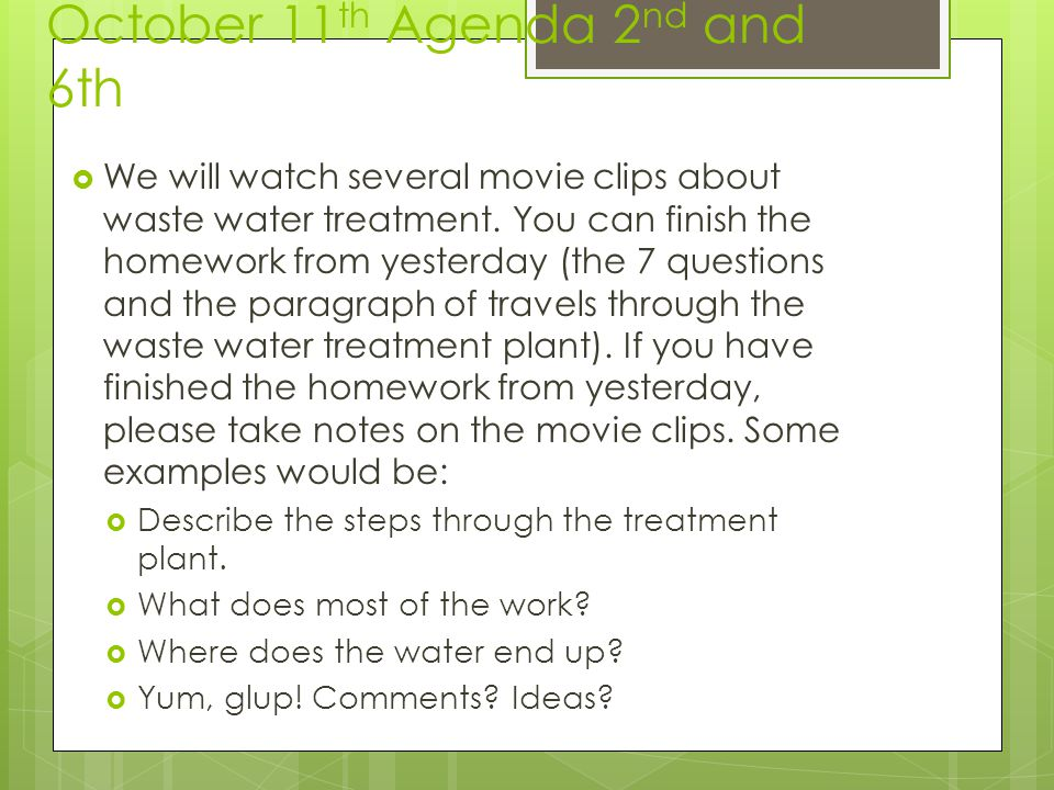 October 11th Agenda 2nd and 6th