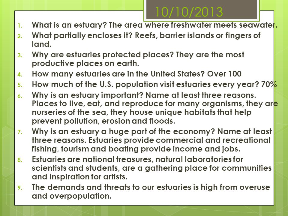 10/10/2013 What is an estuary The area where freshwater meets seawater. What partially encloses it Reefs, barrier islands or fingers of land.