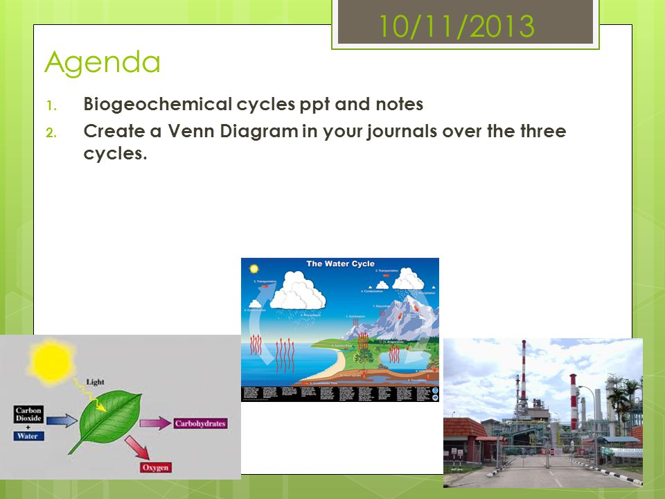 10/11/2013 Agenda Biogeochemical cycles ppt and notes