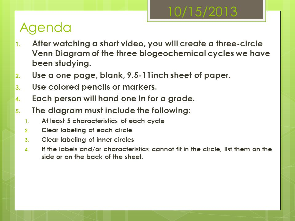 10/15/2013 Agenda After watching a short video, you will create a three-circle Venn Diagram of the three biogeochemical cycles we have been studying.