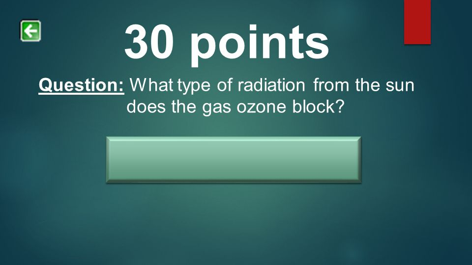 30 points Question: What type of radiation from the sun does the gas ozone block.