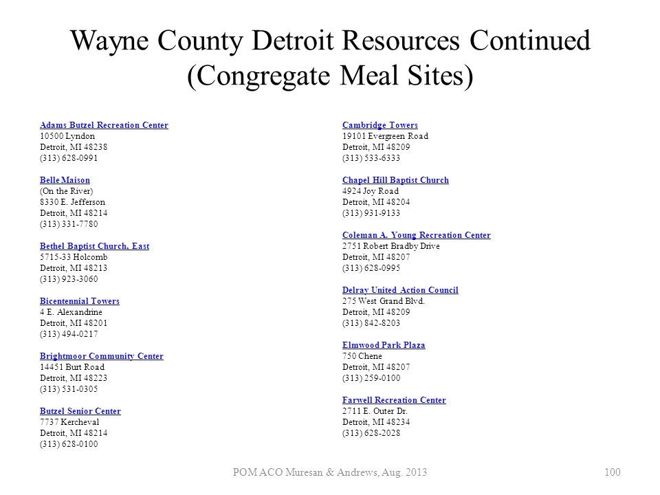 Wayne County Detroit Resources Continued (Congregate Meal Sites)