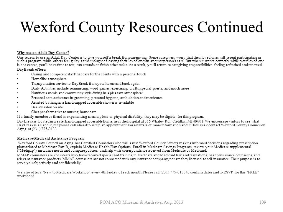 Wexford County Resources Continued