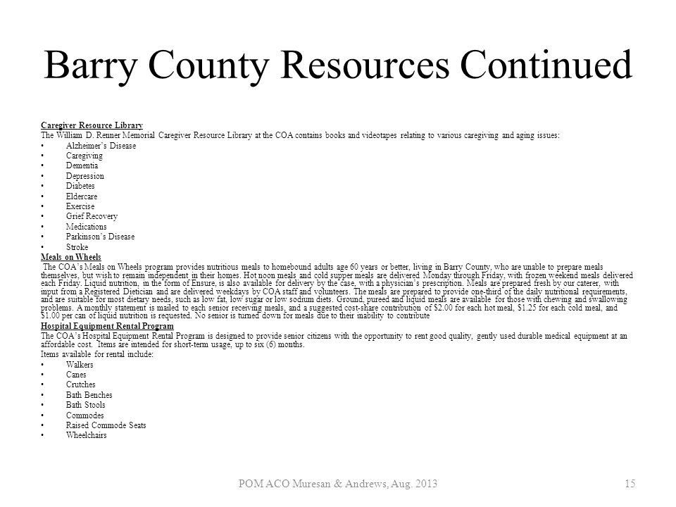 Barry County Resources Continued