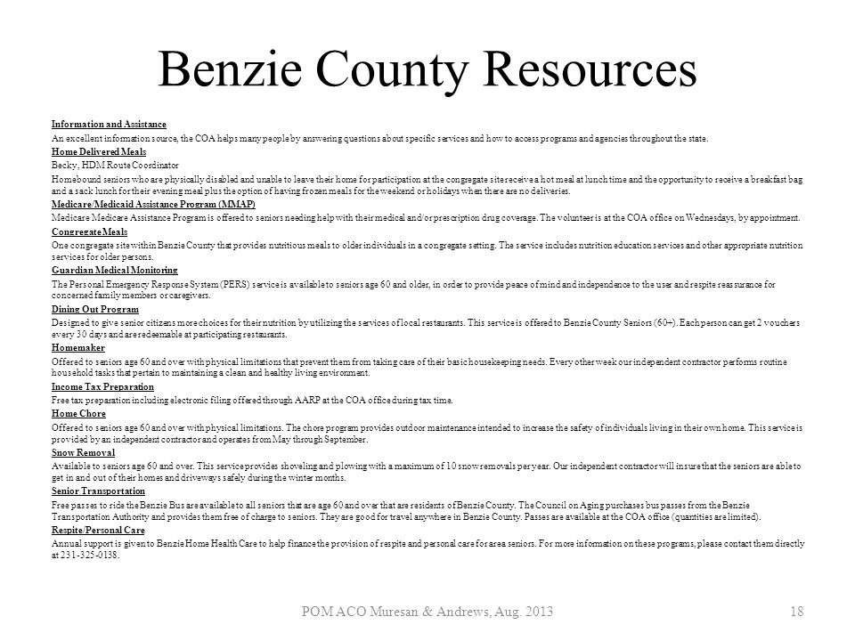 Benzie County Resources