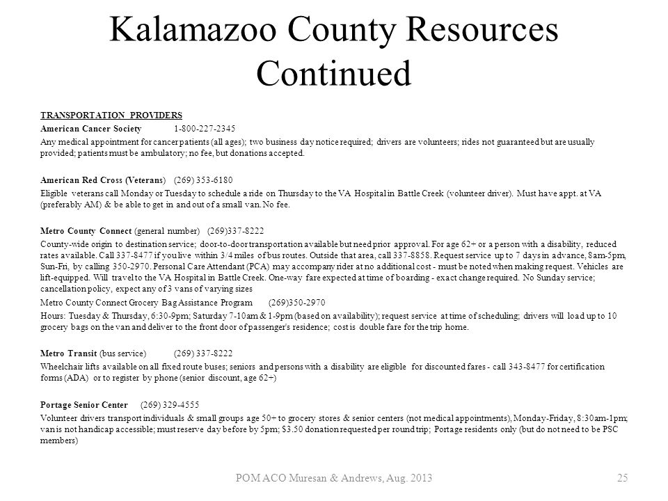 Kalamazoo County Resources Continued