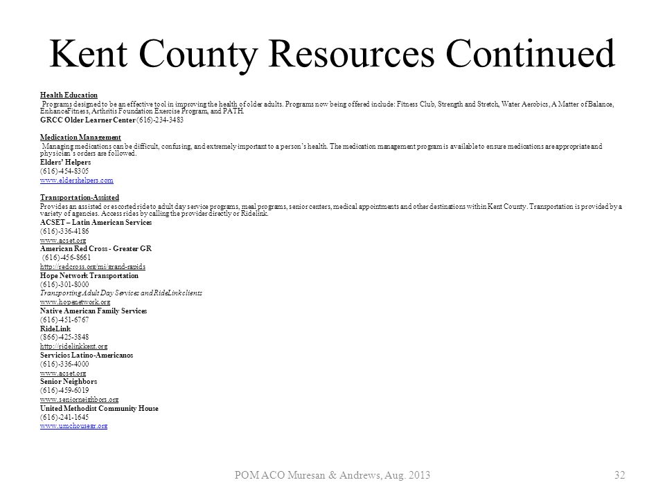 Kent County Resources Continued