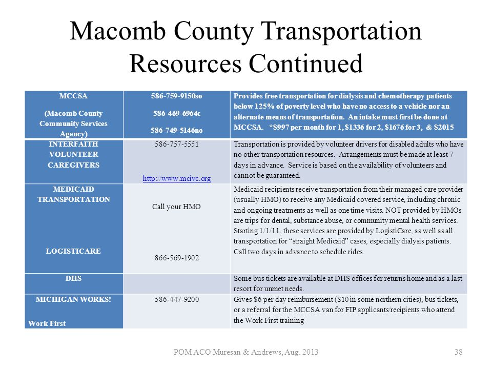 Macomb County Transportation Resources Continued